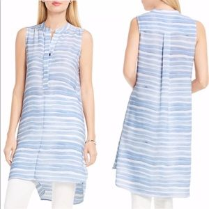 Vince Camuto Stripe Henley Sleeveless Tunic Dress
